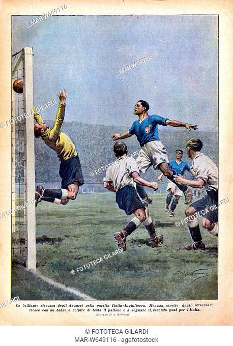CALCIO Campionati mondiali, partita giocata il 4 novembre 1934 Inghilterra - Italia risultato finale 3-2 'La brillante riscossa degli Azzurri nella partita...