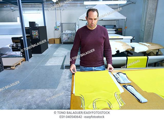 production operator man in fashion transfer industry factory