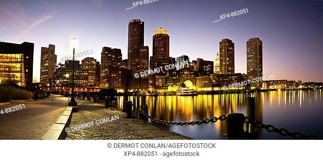 Panoramic view of the city of Boston at dusk from Fan Pier, Massachusetts, USA