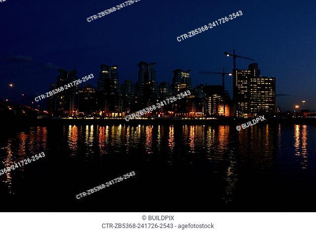 St George Wharf at night, Vauxhall Bridge, London