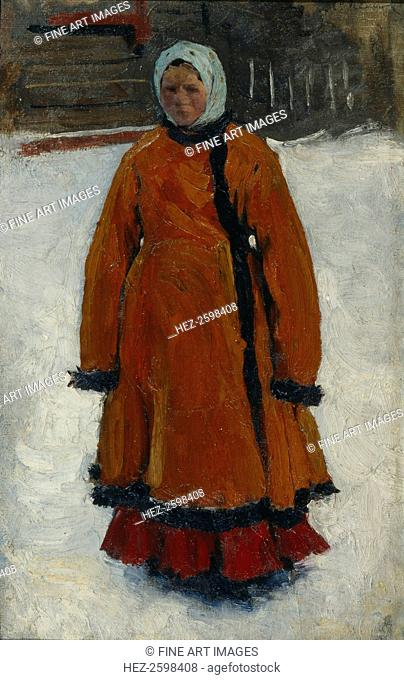 The Girl in the Red Fur Coat, 1903-1906. Found in the collection of the State Tretyakov Gallery, Moscow