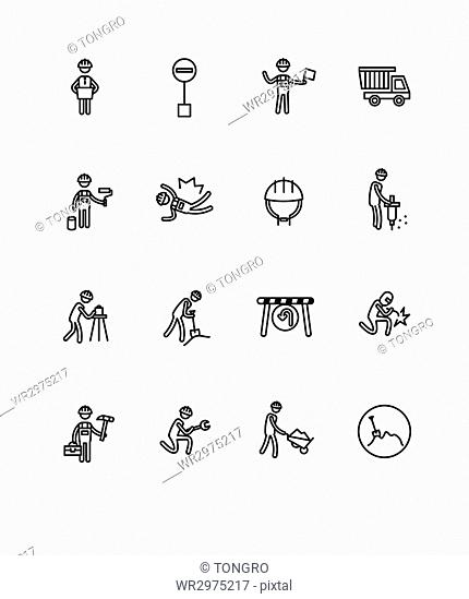 Set of pictogram icons related to construction