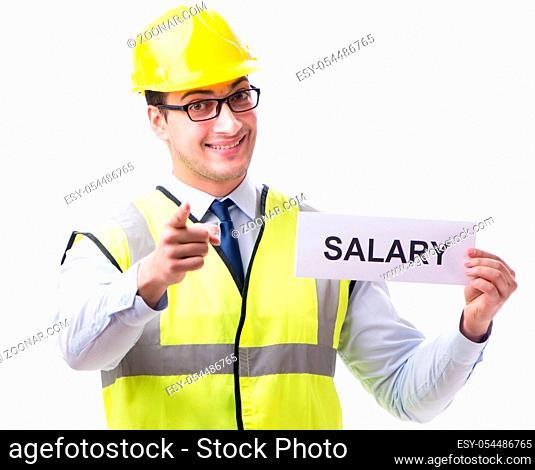 Construction supervisor asking for higher salary isolated on white background