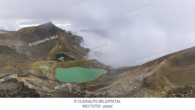 Emerald Lakes shot from Red Crater. Tongariro Alpine Crossing, Tongariro NP, Waikato region, North Island, New Zealand