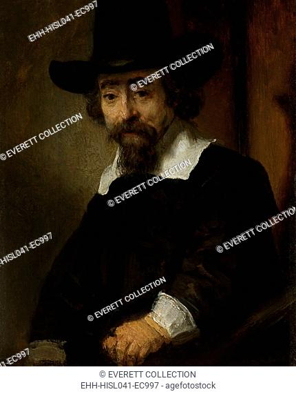 Portrait of a Man, thought to be Dr. Ephraim Bueno, by Rembrandt, 1645, Dutch painting, oil on panel. Bueno's family was a Jewish medical dynasty expelled from...