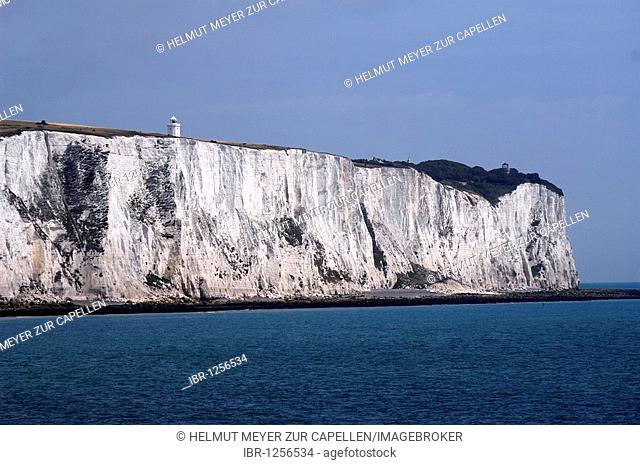 White Cliffs of Dover, detail, with lighthouse, seen from the car ferry, Dover, England, Europe