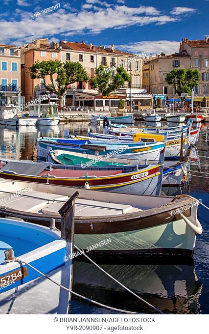 Colorful Sailboats in the small harbor of La Ciotat, Bouches-du-Rhone, Cote d'Azur, Provence France