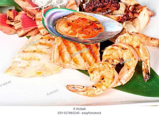Assortment of seafood mix dish