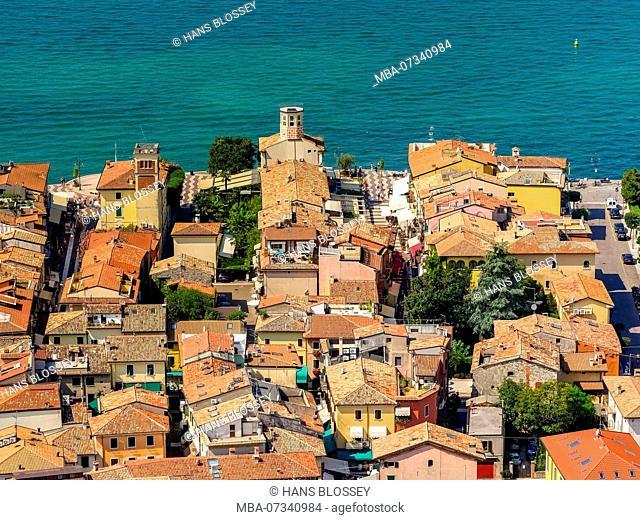 Aerial view, Lake Garda, Dogana Veneta, center, view over the lake, Lago di Garda, Lazise, ??Northern Italy, Veneto, Italy