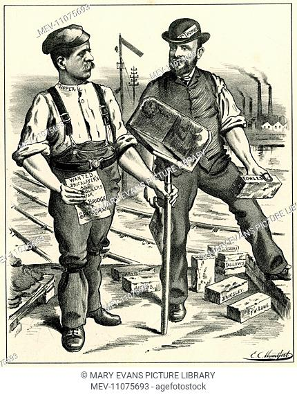Cartoon, The New Bridge from Sparkbrook to Smallheath (Small Heath), Birmingham. Dr Hugh Thomas and Labourer Tipper