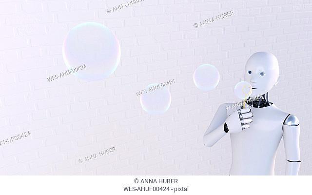 Robot blowing soap bubbles, 3d rendering