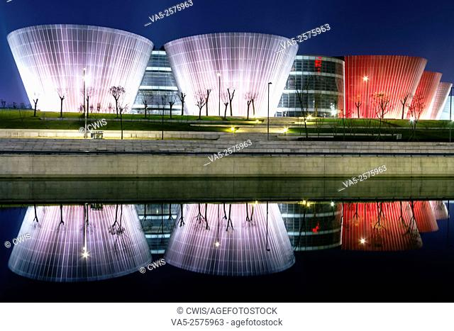 Taiyuan, Shanxi province, China - The view of Taiyuan Museum in the night, the beautiful building designed by Paul Andreu