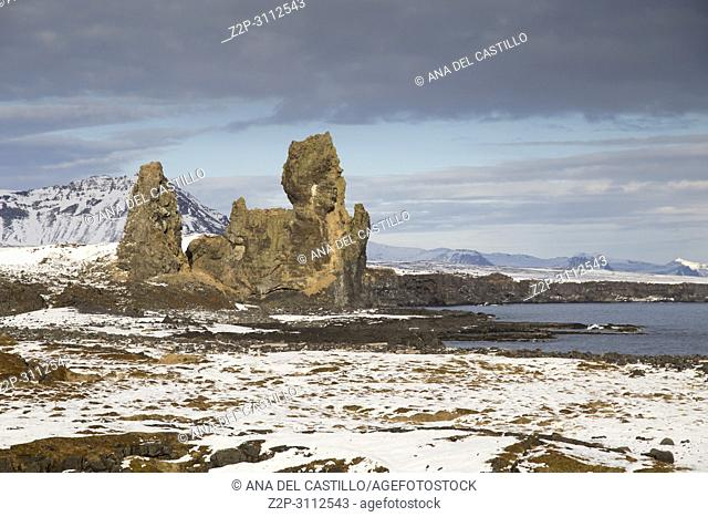 Winter landscape from The Malarrif Lighthouse at Sanaefells peninsule West of Iceland