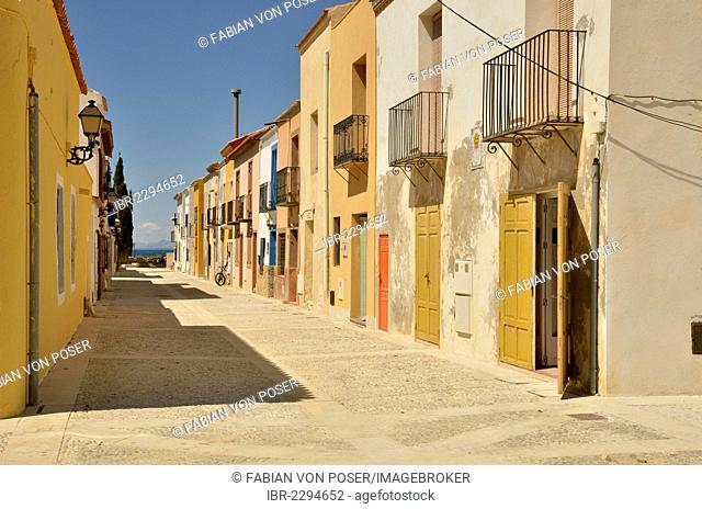 Houses in the old town of Tabarca, Island of Tabarca, Isla de Tabarca, Costa Blanca, Spain, Europe