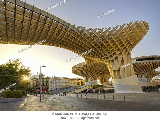 The wooden structure of the Metropol Parasol in Seville, Spain