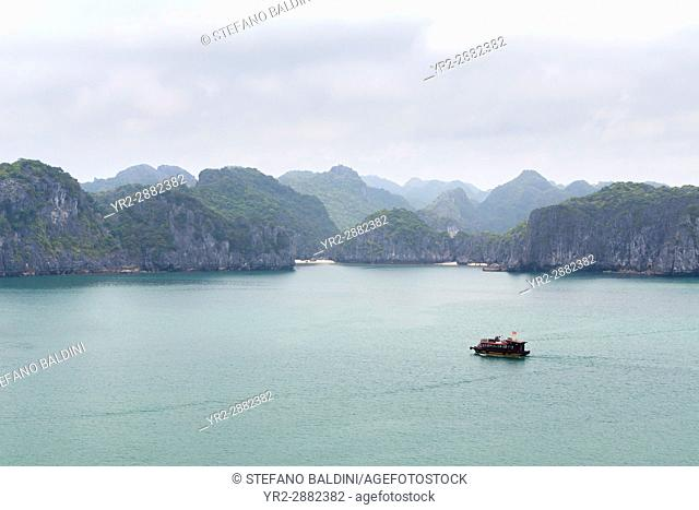 A view of the spectacular limestone karst formations in Lan Ha Bay, Halong Bay, Vietnam