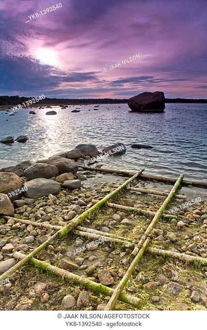 Old Boat Rails in Altja Fishing Village, Overcast Seascape in Lääne-Viru County, Lahemaa National Park, Estonia