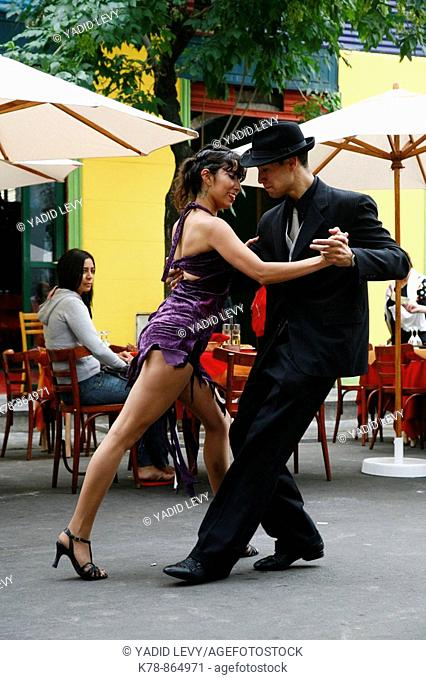 Couple dancing tango at La Boca district  Buenos Aires, Argentina