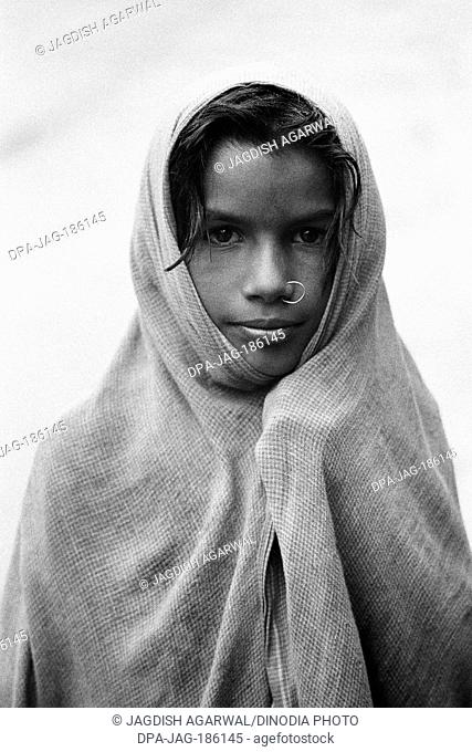 Girl in nose ring with ghunghat Badrinath Garhwal Uttarakhand India Asia 1978