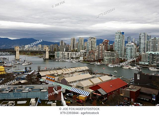 granville island public market and false creek waterfront Vancouver BC Canada