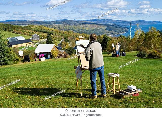 Painting workshop organized by painter Juan Cristobal and during which participants depict different scenes in Charlevoix, Quebec, Canada