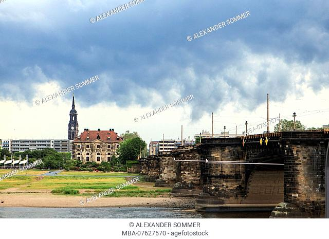 Clouds above the Augustus Bridge in Dresden, Saxony, Germany, Europe