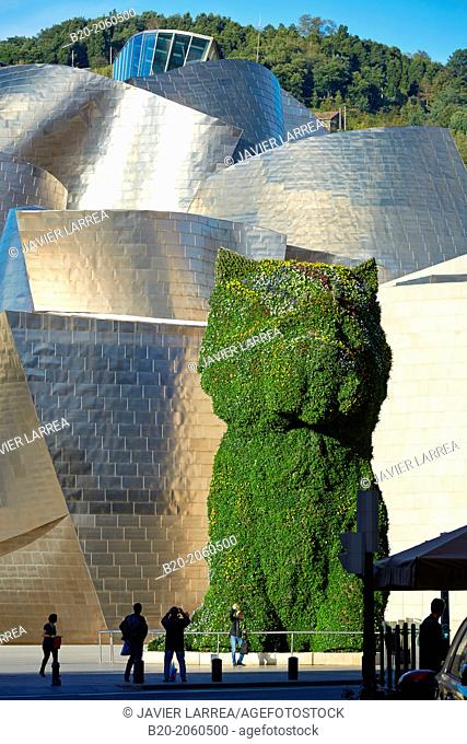 'Puppy' statue by Jeff Koons, Guggenheim Museum, Bilbao, Bizkaia, Basque Country, Spain