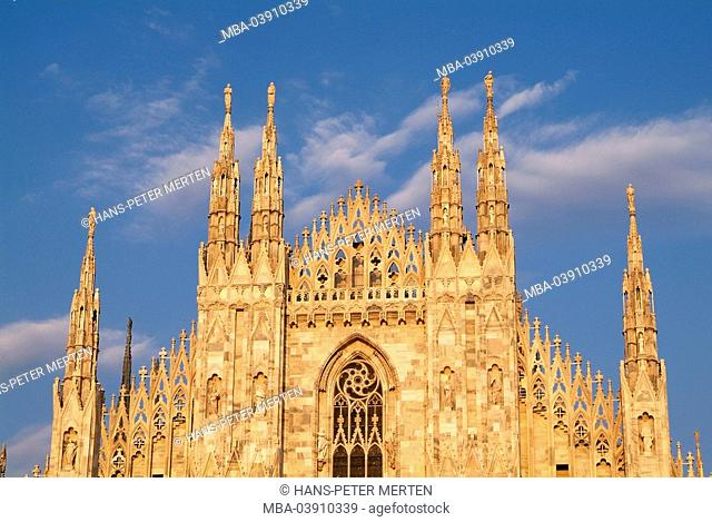Italy, Milan, cathedral, facade, detail