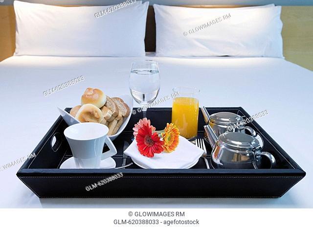 Breakfast tray on the bed