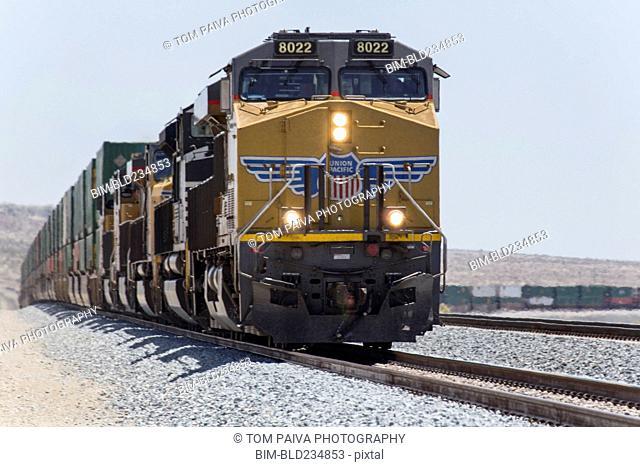Cargo train on railroad track