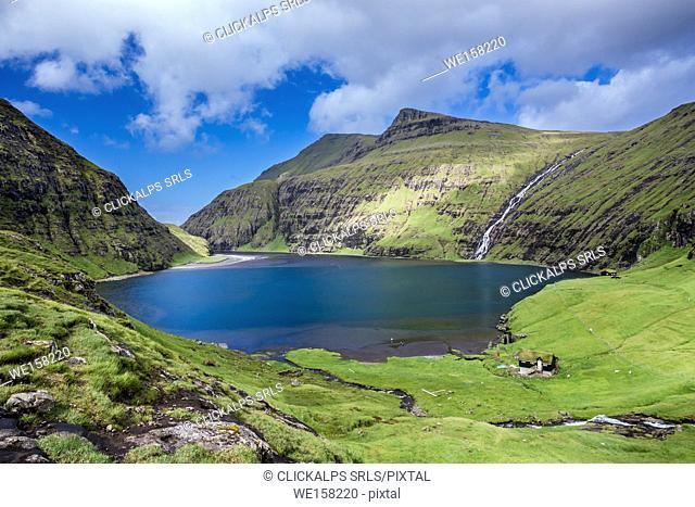 Nordic natural landscape, Saksun, Stremnoy island, Faroe Islands, Denmark