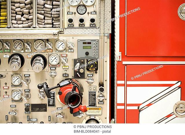 Dials on fire truck