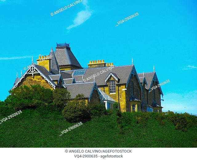 Mansion house on a hill near St Abbs, Summertime, Scotland, UK
