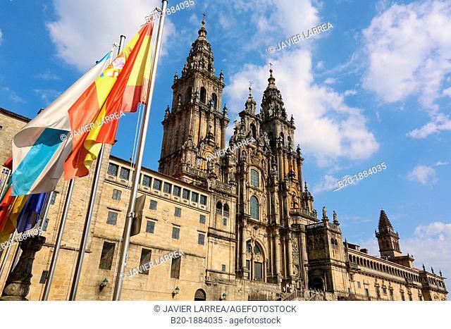 Cathedral from the Parador Hostal Reyes Catolicos, Praza do Obradoiro, Santiago de Compostela, A Coruña province, Galicia, Spain
