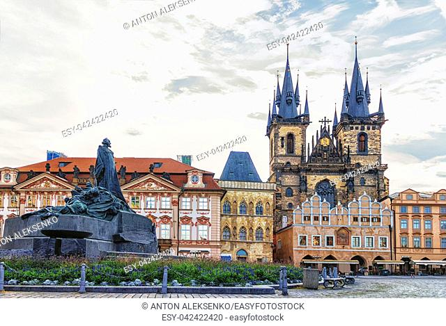 Church of Our Lady before Tyn and the Jan Hus Memorial in Old Town Square of Prague
