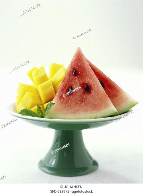 Fruit bowl with mango and watermelon slices