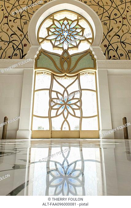 Ornate stained glass window, Sheikh Zayed Mosque, Abu Dhabi, United Arab Emirates