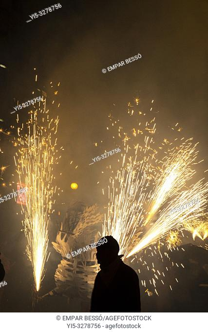 Correfoc. Street parade with fireworks. Fallas festival. València. Spain. 2019