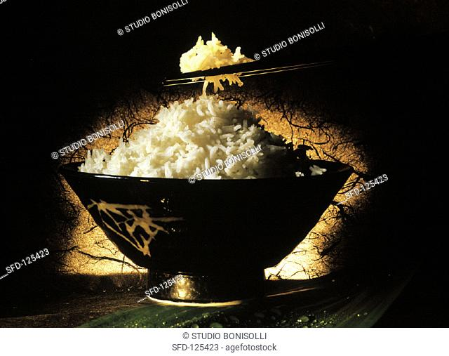 Bowl of White Rice, Chopsticks with Rice