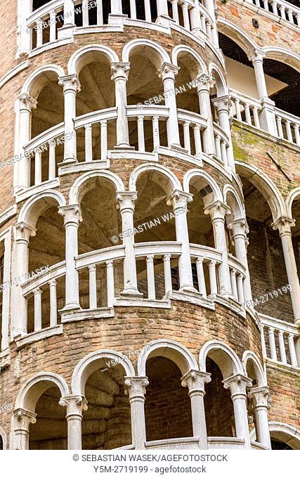External multi-arch spiral staircase known as the Scala Contarini del Bovolo, Venice, Veneto, Italy, Europe