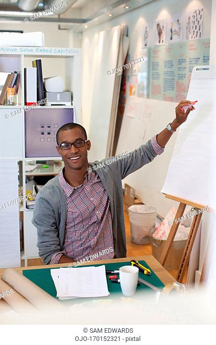 Businessman drawing diagram on flip chart in office