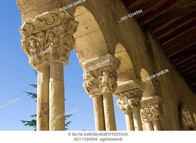 Details of the blind arcade of the romanesque church of Sotosalbos, Segovia, Castilla y Leon, Spain