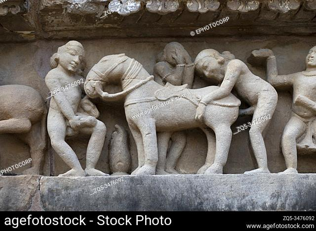 Sculpture of people having sex with horse, Khajuraho, Madhya Pradesh, India