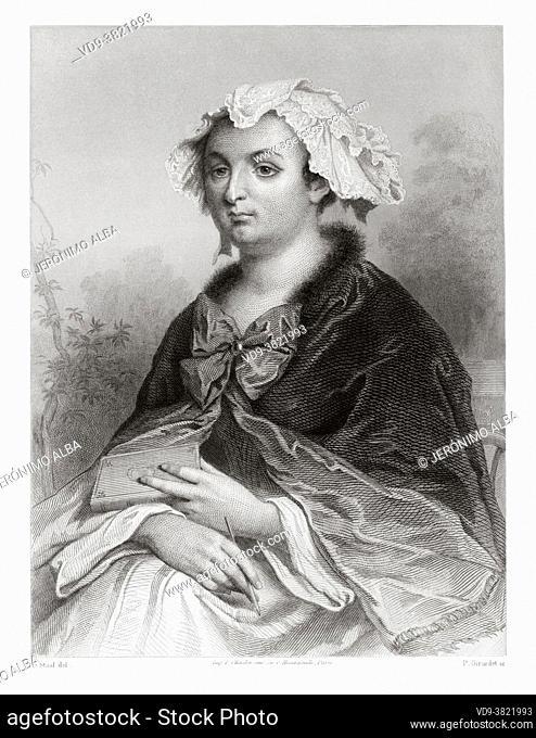 """Portrait of Madame de Caylus. Marthe-Marguerite Le Valois de Villette de Mursay (1673â. """"1729) Marquise de Caylus. French noblewoman and writer"""