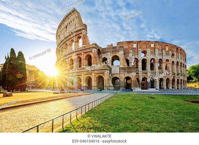 Colosseum in Rome with morning sun, Italy, Europe