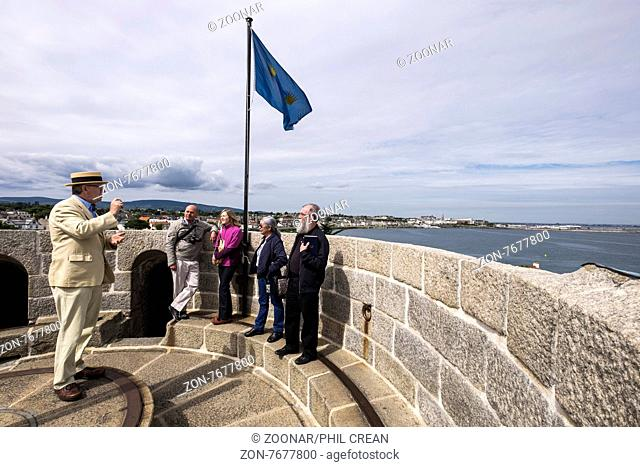 A guided tour of the Sandycove martello tower now a museum to James Joyce, Dublin, Ireland