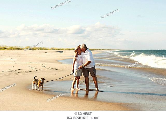 Senior couple walking dog along beach, kissing