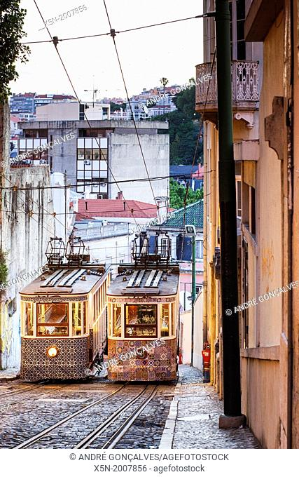 The Gloria Funicular, Lisbon, Portugal, Europe
