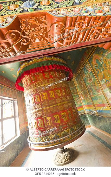 Giant Tibetan prayer wheel, Buddhist Temple, Boudhanath, UNESCO World Heritage Siite, Kathmandu, Nepal, Asia