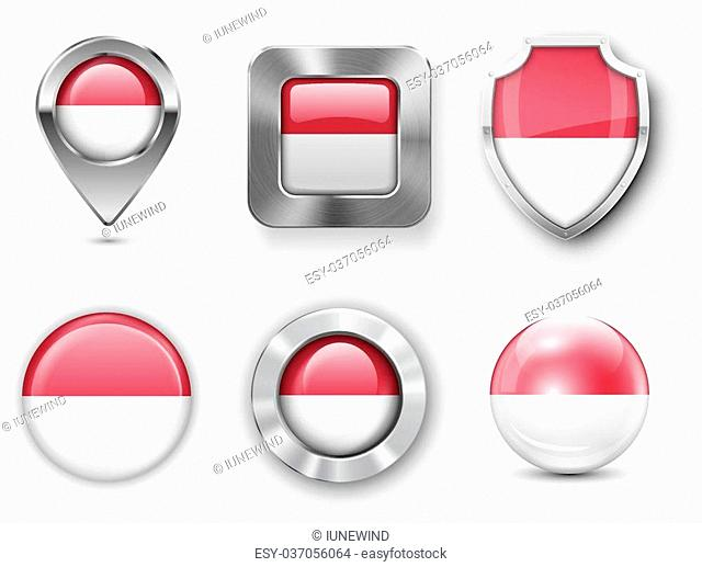 Indonesia Metal and Glass Flag Badges, Buttons, Map marker pin and Shields. Vector illustrations